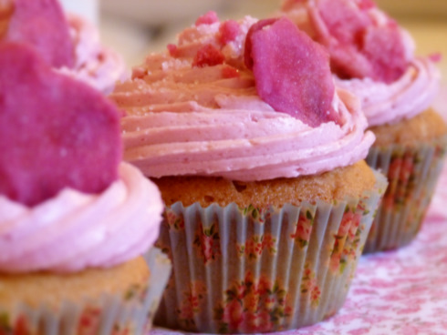 Cupcakes-fraise-rose